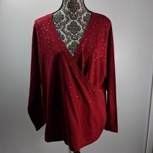 INC size 1X red sweater embellished silk blend